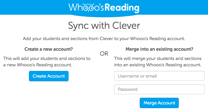 how to sync or create a whooo s reading account with clever